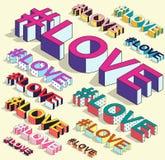 Isometric hashtag - miłość Internetowy blogging Obrazy Royalty Free