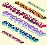 Isometric hashtag - picoftheday Internetowy blogging Fotografia Royalty Free