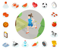Isometric healthy lifestyle concept stock illustration