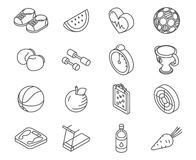 Isometric healthy lifestyle icons line art vector set. Sport lifestyle and hobby icons, illustration set of element for healthy lifestyle Stock Image