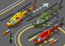 Isometric Helicopters in Three Livery. Detailed illustration of a Isometric Red Helicopter Landing in Three Livery Resque and Military Royalty Free Stock Image