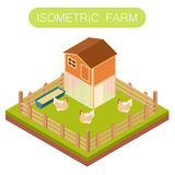 Isometric henhouse with chikens Royalty Free Stock Image