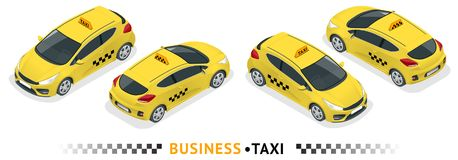 Isometric high quality city service transport icon set. Car taxi. Build your own world web infographic collection. Set of the isometric taxi cab with front and Royalty Free Stock Photography