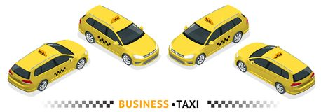 Isometric high quality city service transport icon set. Car taxi. Hatchback isolated. Isometric high quality city service transport icon set. Car taxi. Build Stock Images