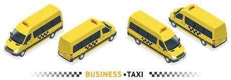 Isometric high quality city service transport icon set. Car taxi service. Minibus or Van car. Airport transfer. Isometric high quality city service transport Royalty Free Stock Images
