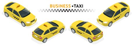Isometric high quality city service transport icon set. Car Taxi. SUV car set on white background. Build your own world web infographic collection Stock Photos