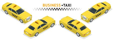 Isometric high quality city service transport icon set. Car taxi. VIP taxi service. Build your own world web infographic collection. Set of the isometric taxi Royalty Free Stock Image