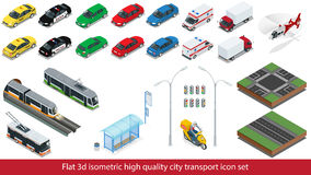 Isometric high quality city transport icon set Subway train, Police, taxi truck car Mini, sedan helicopter, street road Stock Photo