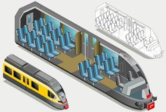 Isometric High Speed Subway Longitudinal Section Stock Image