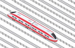 Isometric high-speed train. Illustration isometric high-speed train on the tracks in the city quarter Stock Photography