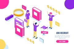 Isometric hire and recruit worker concept, vacant place, HR human resources, personnel assessment, magnifying glass stock illustration