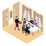 Isometric Holiday Concept. With celebrating  people sitting at dining table and serving waiter vector illustration Stock Image
