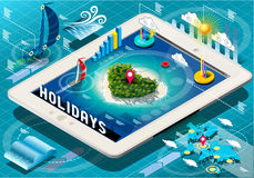 Isometric Holidays Infographic on Tablet Royalty Free Stock Photography