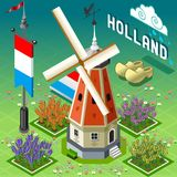 Isometric Holland Barn - Windmill Building Stock Photos
