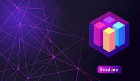 Isometric holographic geometric icon Crypto Currency, colorful abstract background. A great concept for a web design template 12.  royalty free illustration