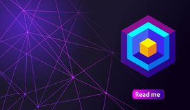 Isometric holographic geometric icon Crypto Currency, colorful abstract background. A great concept for a web design template 13.  royalty free illustration