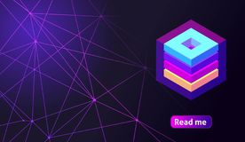 Isometric holographic geometric icon Crypto Currency, colorful abstract background. A great concept for a web design template 11.  vector illustration