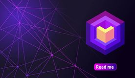 Isometric holographic geometric icon Crypto Currency, colorful abstract background. A great concept for a web design template 14.  vector illustration