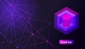 Isometric holographic geometric icon Crypto Currency, colorful abstract background. A great concept for a web design template 15.  royalty free illustration