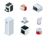 Isometric Home appliances. Set of household kitchen technics Coffee maker, toaster, microwave, kettle Stock Photos