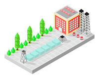 Isometric home. The factory with storage tanks. Road, green bushes in front of house. Vector illustration isometric style. Stock Image
