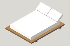 Isometric home furniture - bed. Interior element Bedroom. Vector illustration isolated on background. Royalty Free Stock Photography