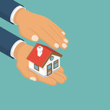 Isometric home in hand. Property insurance icon. Vector illustration modern flat design. Insurance agent holding of house Royalty Free Stock Image