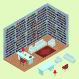 Isometric home library in 3D. The interior of the lounge area with isolated books, bookshelves, table, sofa, armchairs, lamp and c. Arpet. Open plan room in Royalty Free Stock Photo