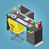 Isometric  home office concept illustration. Workplace interior set Stock Photos