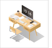 Isometric home office concept Stock Images