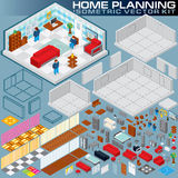 Isometric Home Plan. 3D Vector Creation Kit Royalty Free Stock Images