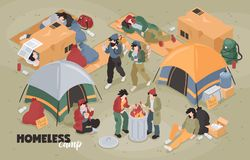 Isometric Homeless Camp Composition vector illustration