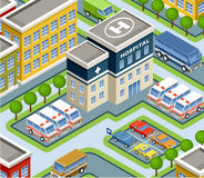Isometric hospital. Stock Photos