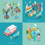 Isometric Hospital Interior. Doctor Appointment, Hospital Reception, Ambulance First Aid, Health Care. Vector 3d flat illustration Royalty Free Stock Photo