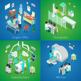 Isometric Hospital Interior. Medical MRI Scan, Operating Room with Doctors, Fluorography Process, Surgeon Office Royalty Free Stock Image