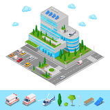 Isometric Hospital. Medical Center Modern Building Stock Image