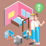 Isometric hostel bed room with couple vector illustration Royalty Free Stock Images