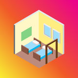 Isometric hostel bed room vector illustration. Vector design concept with isometric 3d hostel or hotel bed room illustration Royalty Free Stock Photos