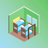 Isometric hostel bed room vector illustration. Vector design concept with isometric 3d hostel or hotel bed room illustration Stock Photography