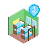 Isometric hostel bed room vector illustration. Vector design concept with isometric 3d hostel or hotel bed room illustration for 12 men Stock Photo