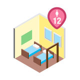 Isometric hostel bed room vector illustration. Vector design concept with isometric 3d hostel or hotel bed room illustration for 12 women Stock Image