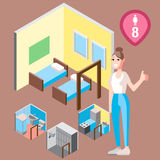 Isometric hostel bed room with woman vector illustration Stock Images