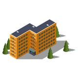Isometric hostel building. Building icon Stock Photo