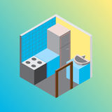 Isometric hostel kitchen room vector illustration Royalty Free Stock Photography