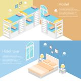 Isometric hostel room.Flat 3D. Illustration Royalty Free Stock Images