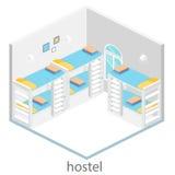 Isometric hostel room. Isometric interior of hostel room. Flat 3D illustartion Royalty Free Stock Image