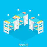 Isometric hostel room. Isometric interior of hostel room. Flat 3D illustartion Royalty Free Stock Photo