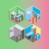 Isometric hostel rooms set vector illustration Stock Photos