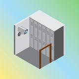 Isometric hostel storage room vector illustration Royalty Free Stock Image