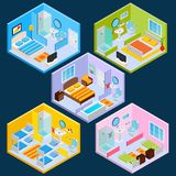 Isometric Hotel Interior Stock Images